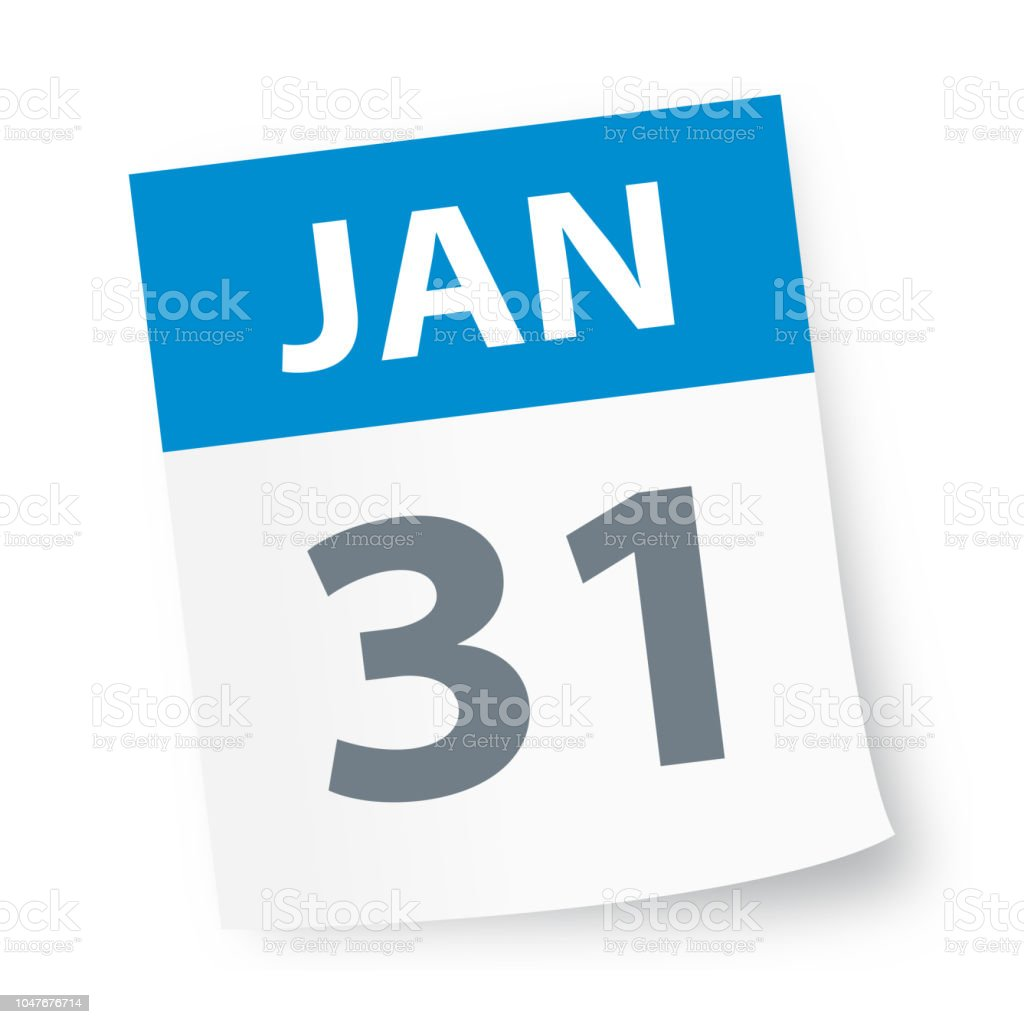 January 31 2020 Calendar January 31 Calendar Icon Stock Illustration   Download Image Now