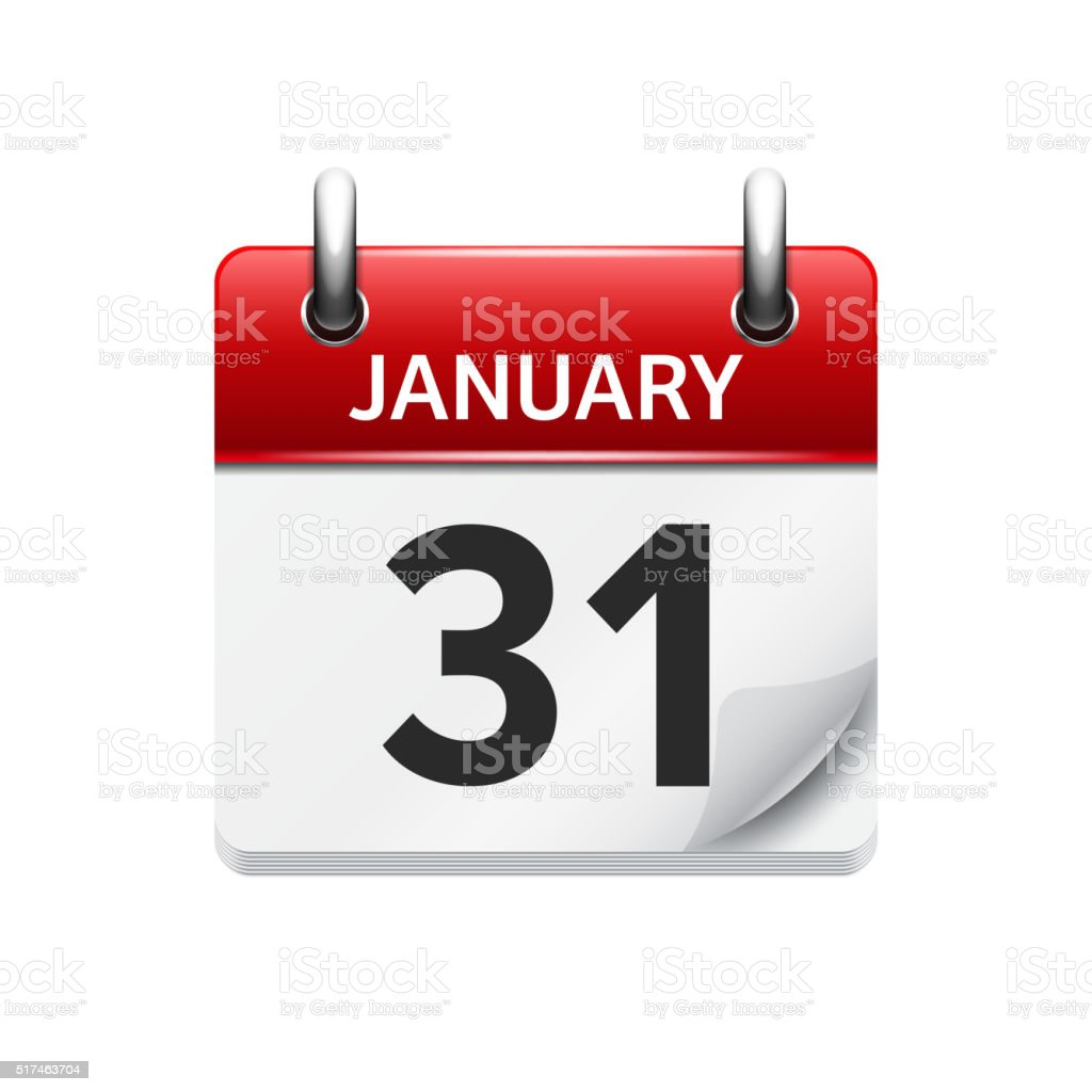 January 31. Vector flat daily calendar icon. Date and time vector art illustration
