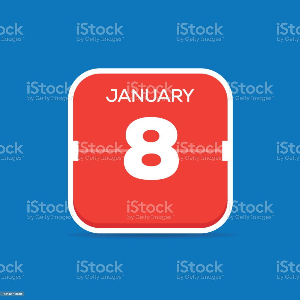 January 8 Calendar Flat Icon royalty-free january 8 calendar flat icon stock illustration - download image now