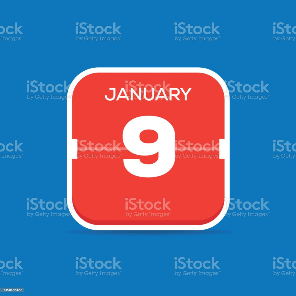 January 9 Calendar Flat Icon royalty-free january 9 calendar flat icon stock vector art & more images of art