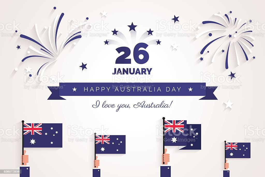 26 january. Australia Day greeting card. Celebration background ベクターアートイラスト