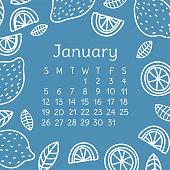 January calendar 2020. Vector English wall calender template. Lemon and mandarin slices. Citrus fruit. Hand drawn design. Doodle sketch. Sunday