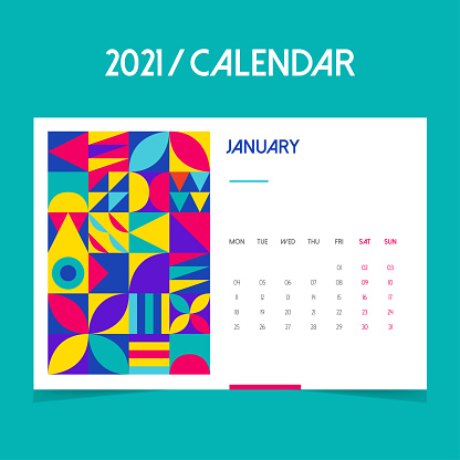 2021 January Calendar. Calendar 2021 year template day planner in this minimalist.Geometric shapes, colorful and turquoise background.