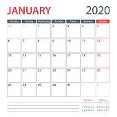 2020 January Calendar Planner Vector Template. Week starts Monday