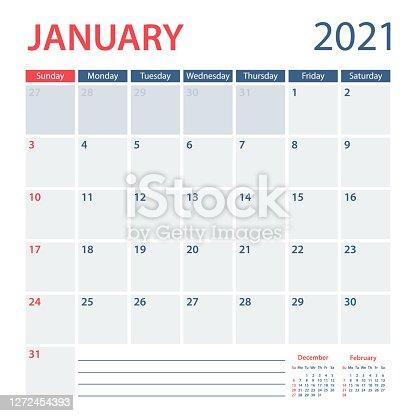 istock 2021 January Calendar Planner Vector Template. Week starts on Sunday 1272454393