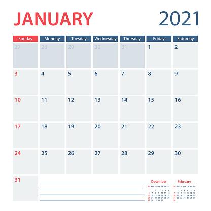 2021 January Calendar Planner Vector Template. Week starts on Sunday