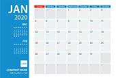 2020 January Calendar Planner Vector Template. Week starts Sunday