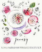 istock January calendar with ink calligraphy elements and sweet dessert illustration 1127538821