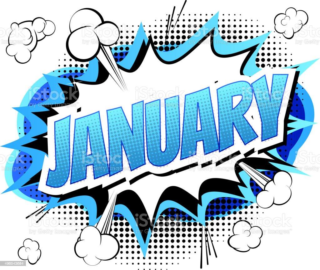 January Comic Book Style Word Stock Illustration ...