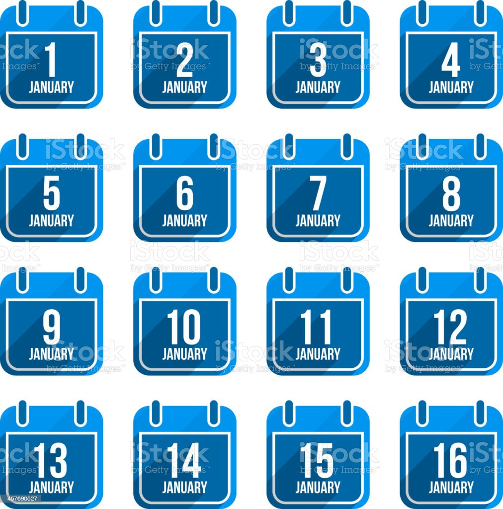 January flat calendar icons. Days Of Year Set 7 vector art illustration