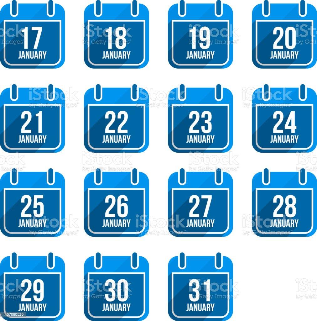 January flat calendar icons. Days Of Year Set 8 royalty-free january flat calendar icons days of year set 8 stock illustration - download image now