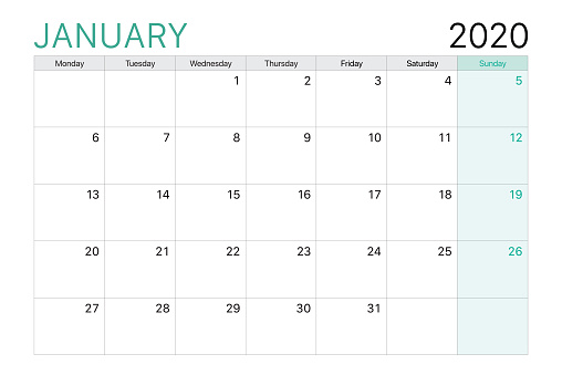 2020 January illustration vector desk calendar