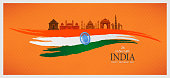 26 january, indian republic day, hand drawn vector illustration