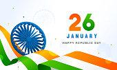 26 January, Indian Republic Vector illustration, Indian flag waving and Ashoka chakra wheel(spinning wheel).
