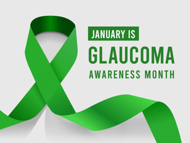 ilustraciones, imágenes clip art, dibujos animados e iconos de stock de enero es el mes de concientización sobre el glaucoma. ilustración vectorial con cinta verde - símbolo societal