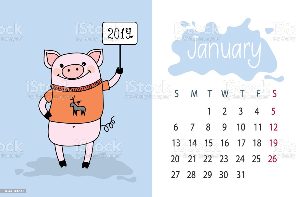 january month 2019 year calendar page with cute pink pig stock