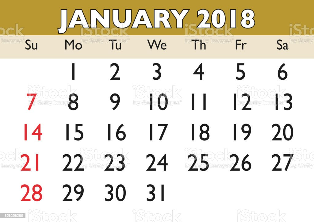 Monat Januar Kalender 2018 Englisch Usa Stock Vektor Art und mehr ...