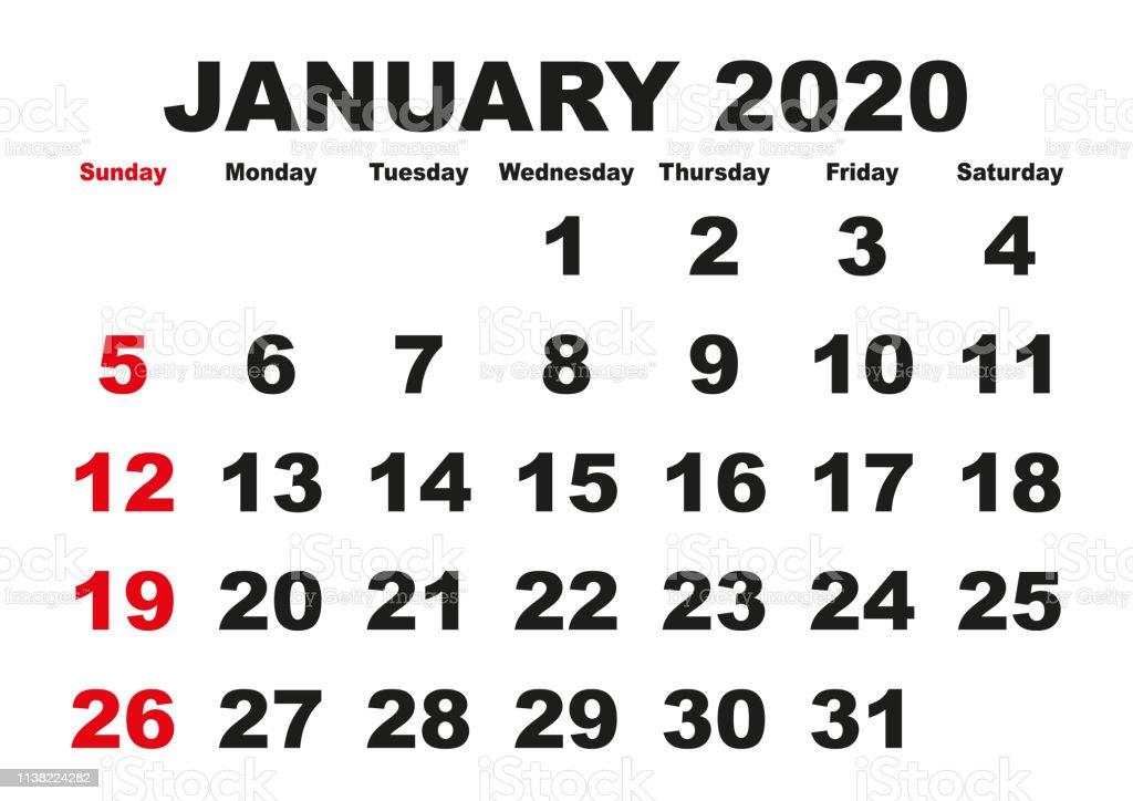 Calendario Mes De Enero 2020.Ilustracion De Mes De Enero Calendario 2020 Ingles Eeuu Y