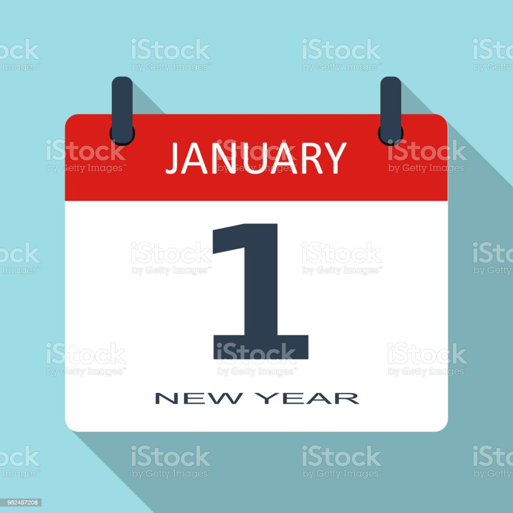 1 January New Year Day Vector Flat Daily Calendar Icon Date And Time