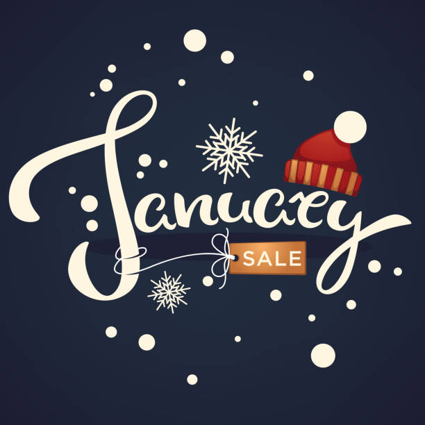 January sale, knitted hat  and snowflakes lettering composition flyer or banner template on dark background January sale, knitted hat  and snowflakes lettering composition flyer or banner template on dark background january stock illustrations