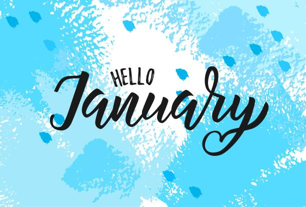 January word. Hand lettering typography. Vector illustration as poster, postcard, greeting card, invitation template. Concept January advertising january stock illustrations