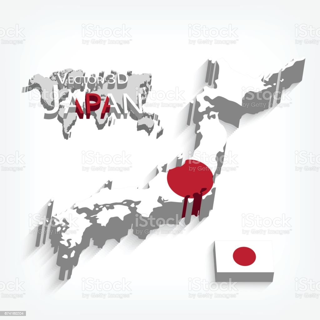 Japan D Stock Vector Art IStock - Japan map 3d
