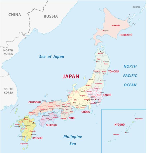 administrative und politische karte japan - kobe stock-grafiken, -clipart, -cartoons und -symbole