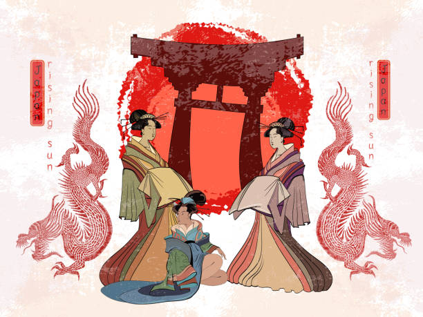 Japan art. Geisha and dragon. Asian culture. Traditional Japanese, red sun, dragons and geisha woman vector art illustration