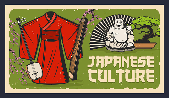 Japan bonsai, netsuke, kimono, shamisen and geisha