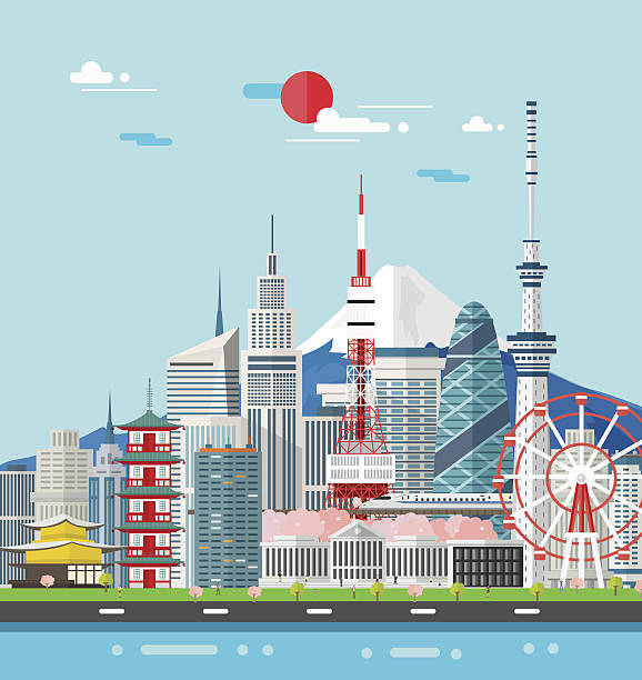 japan buildings travel place and landmark.vector illustration. - tokyo stock illustrations, clip art, cartoons, & icons