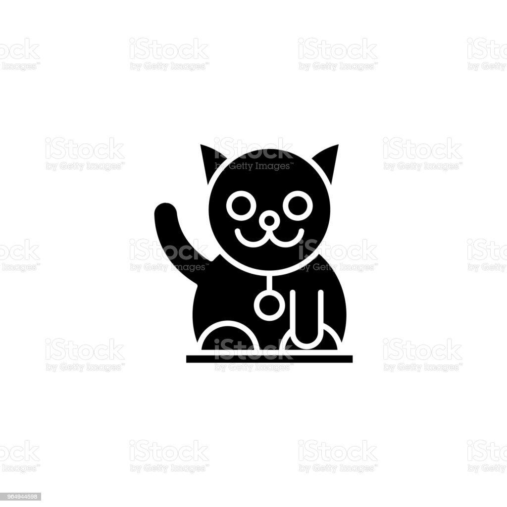 Japan Cat Black Icon Concept Japan Cat Flat Vector Symbol Sign