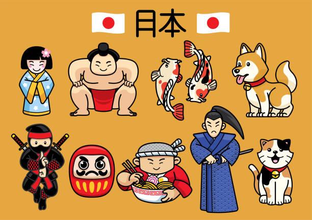japan-charakter-kultur im set - sumo stock-grafiken, -clipart, -cartoons und -symbole