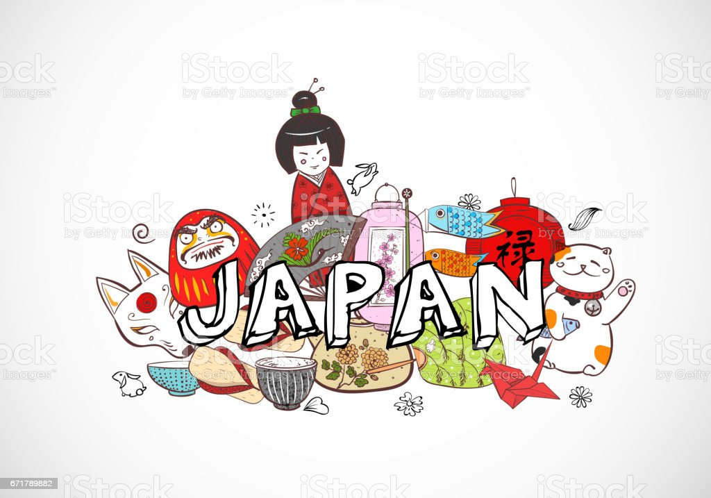 Japan Colored Doodle Sketch Elements Background On White Stock - Japan map sketch
