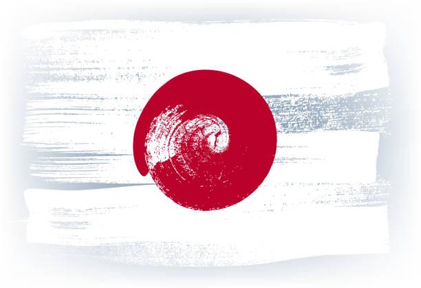 japan bunte mit pinselstrichen gemalte flagge - flagge japan stock-grafiken, -clipart, -cartoons und -symbole