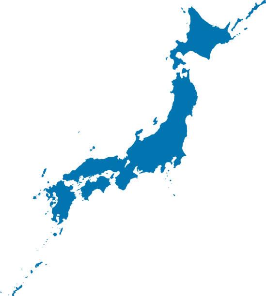 bildbanksillustrationer, clip art samt tecknat material och ikoner med japan komplett karta (blå) - japan
