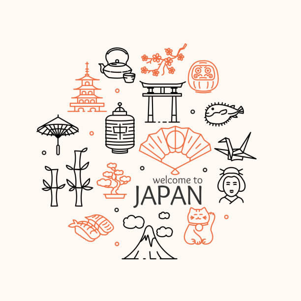 Japan Concept Travel. Vector Japan Concept Travel. Welcome to Country. Vector illustration tokyo stock illustrations