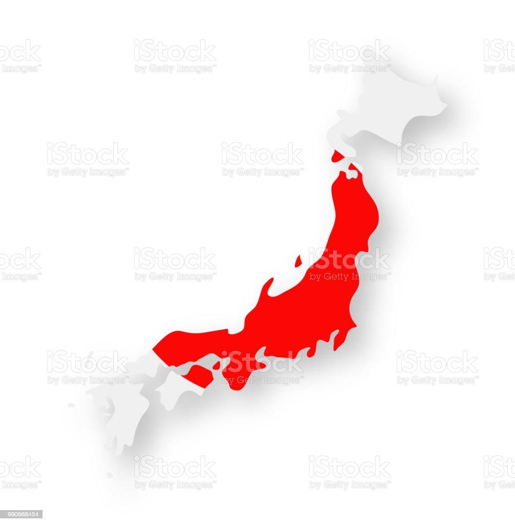 Japón - contorno país bandera Vector icono plana - ilustración de arte vectorial