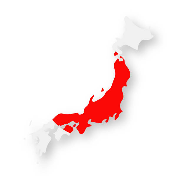 Japan - Contour Country Flag Vector Flat Icon vector art illustration