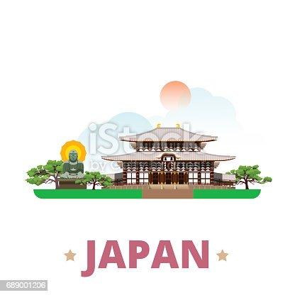 istock Japan country design template. Flat cartoon style historic sight showplace web site vector illustration. World vacation travel sightseeing Asia Asian collection. Great Buddha Kamakura Todai-Ji Nara. 689001206