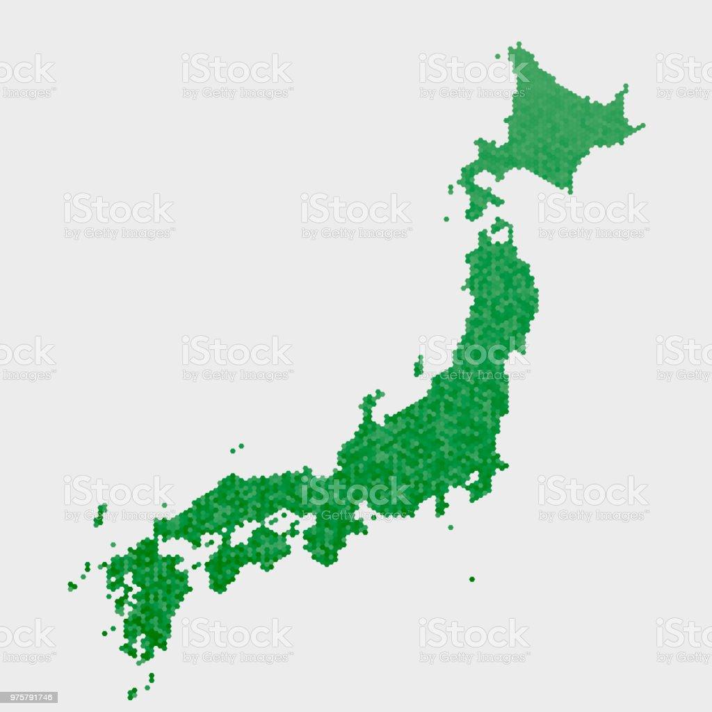 Japan-Land-Map-grünen Sechseck-Muster - Lizenzfrei Abstrakt Vektorgrafik