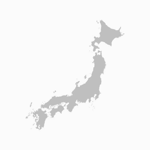 bildbanksillustrationer, clip art samt tecknat material och ikoner med japan land karta japanska öar vektor mall - japan