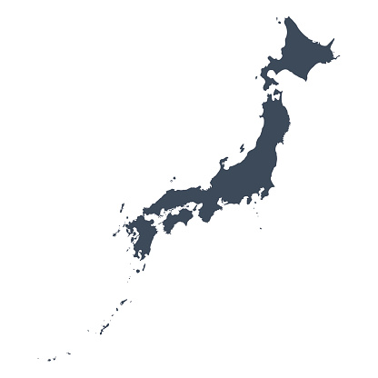 A graphic illustrated vector image showing the outline of the country japan. The outline of the country is filled with a dark navy blue colour and is on a plain white background. The border of the country is a detailed path.