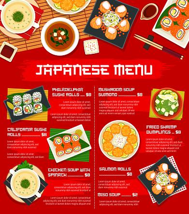 Japan cuisine vector menu template meals of Japan
