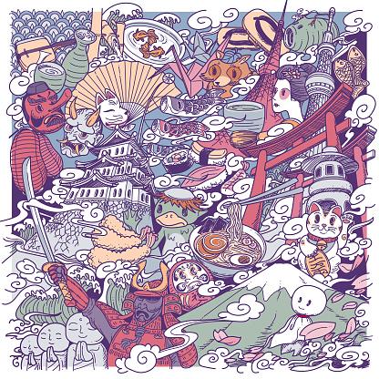japan culture doodle
