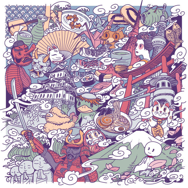 japan culture doodle vector art illustration