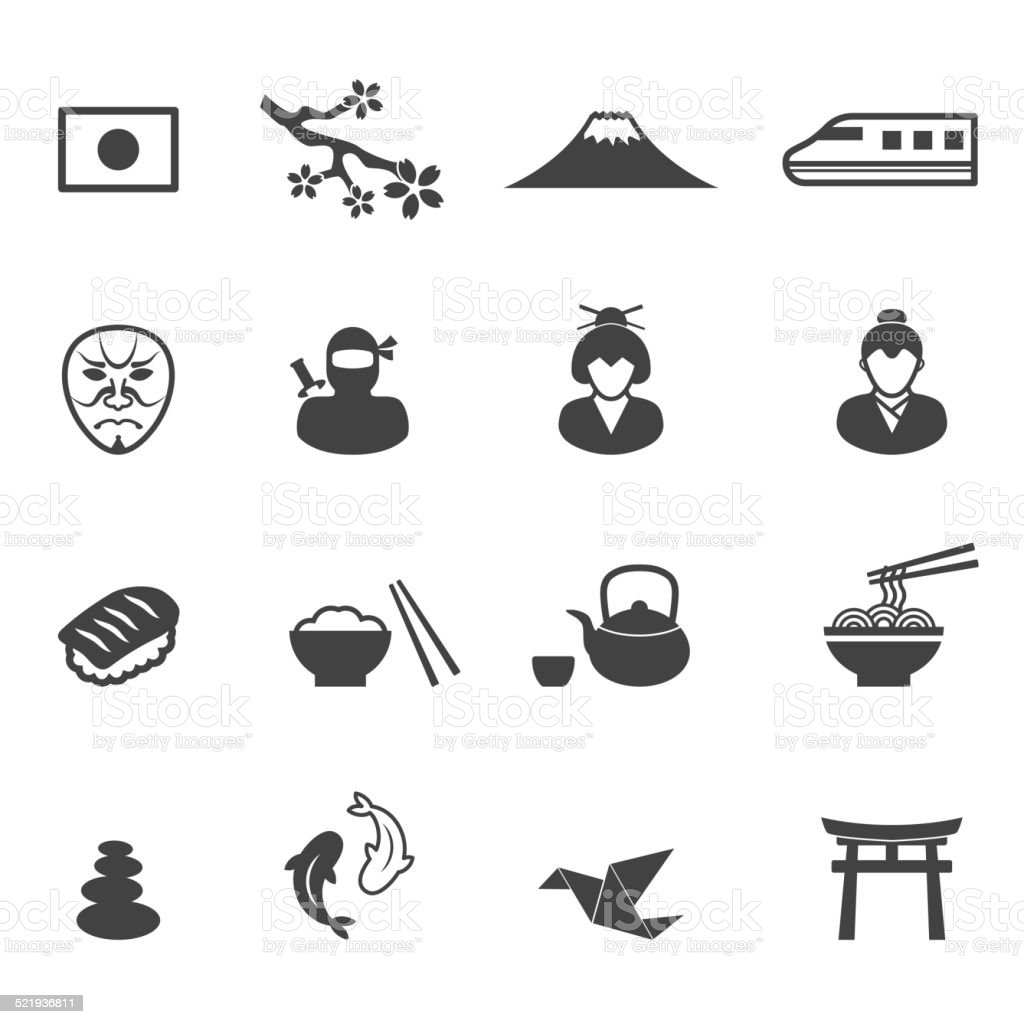japan culture icons vector art illustration