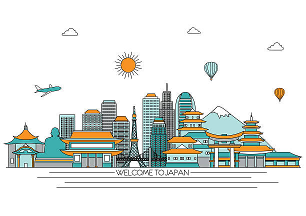 Japan detailed skyline. Vector background. line illustration. Line art style Japan detailed skyline. Vector background. line illustration. Line art style loon bird stock illustrations