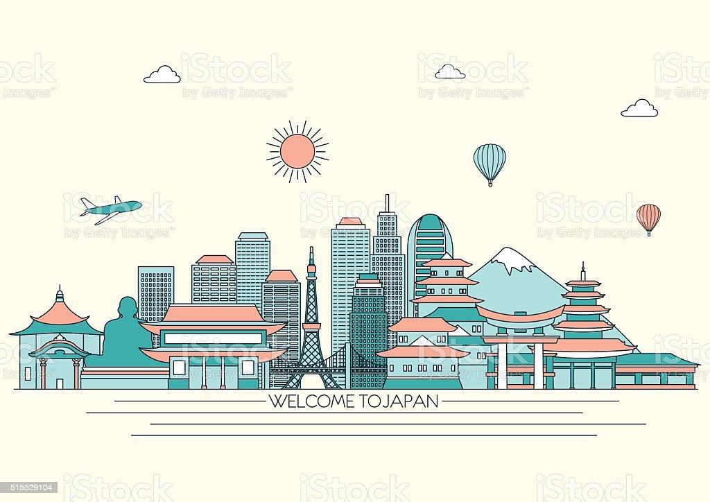 日本の詳細な街並みを一望できます。ベクトルイラスト背景ライン。ラインアートスタイル ベクターアートイラスト