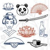 Japan doodles set. Hand drawn lotus flower, panda, fan, geisha, katana sword, bottle of sake, samurai and sushi.