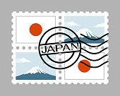 Japan flag and mountain fuji on postage stamps